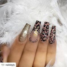 Bling Acrylic Nails, Leopard Print Nails, Silver Nails, Summer Acrylic Nails, Glam Nails, Best Acrylic Nails, Dope Nails, Acrylic Nail Designs, Pastel Nails