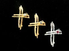 Yellow Gold Cross Iosif with a gemstone. Ruby Sapphire, Peridot, Amethyst, Pink And Gold, White Gold, Cross Jewelry, Gold Cross, Crosses, Four Square