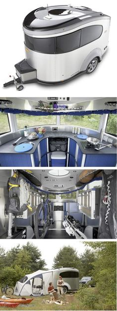 These images are of a 2008 Airstream Basecamp. The Basecamp was designed to pay homage to Airstream founder, Wally Byam& original 1935 Torpedo. What do you thi Airstream Basecamp, Airstream Trailers, Travel Trailers, Camping Glamping, Outdoor Camping, Airstream Camping, Camping Survival, Camping Gear, Enjoy The Ride