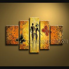 Enchanting Contemporary Wall Art Oil Painting On Canvas Gallery Stretched Figure. This 5 panels canvas wall art is hand painted by A.Qiang, instock - $165. To see more, visit OilPaintingShops.com