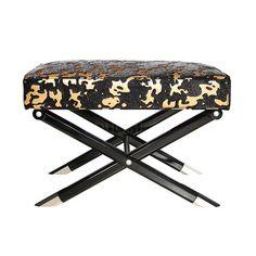 床尾凳 榉木实木框架+布艺软包+黑色亮面脚 W650*D480*H450 mm