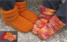 I knitted these for Aubrey & I'm now knitting them for Anna's kids.  Knitting Pure and Simple--Diane Soucy--Children's Mukluk Slippers