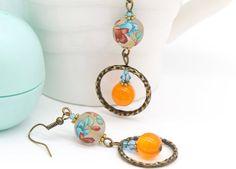 Orange Earrings, Floral Earrings, Hoop Earrings, Turquoise Earrings, Boho Earrings, Long Earrings, Unique Earrings, Summer Earrings, Lily