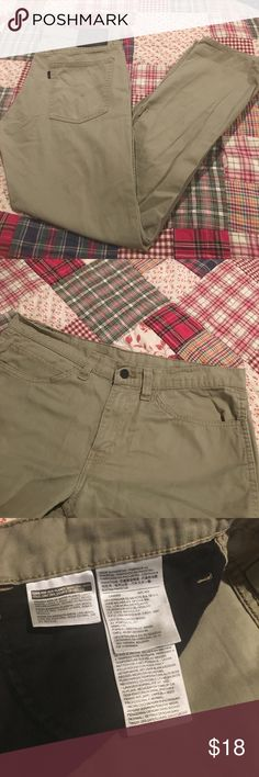"""Levi Khakis Nearly new Levi's jean style khakis. These are comfortable and classic. Waist measures 17"""" flat, inseam is 30"""" and leg opening is approx 7.5"""" Levi's Pants Chinos & Khakis"""