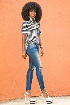 Striped Button Down + Distressed Ankle Length Jeans Style Pantry waysify