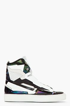 Raf Simons Black & White Leather Holographic Space Sneakers for men | SSENSE