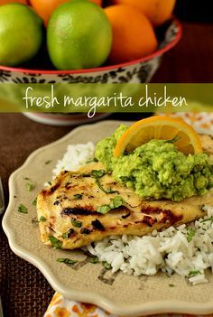Margarita Chicken -- oh. my. word.  This is delicious!  The marinade really does have a margarita flavor, which pairs so well with chicken.  You can make this on the grill, as instructed, or broil/bake it too, until winter is over.