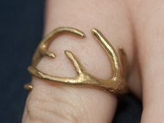 Antlers Ring 17mm  in Raw Brass