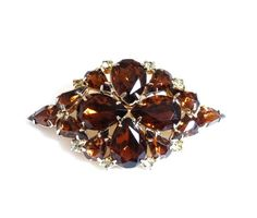 Vintage Amber Rhinestone Pin Brooch Tiered Juliana Style Gold Metal Large Big Size Closed Back