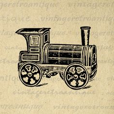 Printable Locomotive Train Graphic Digital Illustration Download Image Vintage Clip Art. Printable high resolution digital illustration for printing, transfers, tote bags, tea towels, papercrafts, and more great uses. Great for etsy products. This digital image is high quality at 8½ x 11 inches large. Transparent background version included with all images.