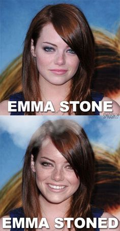 funny celebrity name pun emma stone stoned Funny Puns, Hilarious, Funny Stuff, Emma Stone Quotes, Celebrity Name Puns, Smosh, Celebs, Celebrities, Movies And Tv Shows