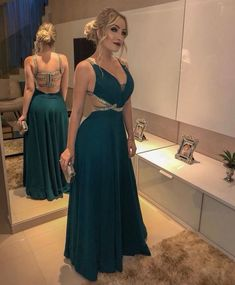 A-Line/Princess Sleeveless V-neck Floor-Length Beading Chiffon Dresses - Prom Dresses 2019 - Prom Dresses - Hebeos Online Pretty Dresses, Sexy Dresses, Beautiful Dresses, Chiffon Dresses, Long Dresses, Fashion Dresses, Grad Dresses, Homecoming Dresses, Wedding Dresses