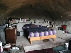 a modern cave dwelling--gives an idea of Derek and Genevieve's hideout.