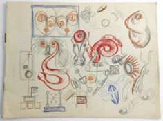 Original sketchpad of graphite and colored pencil drawings by Jackson Pollock (1912-1956)