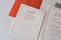 REAL WEDDING: Alexandra and Dimitriy | Coral and Grey Wedding Invitations