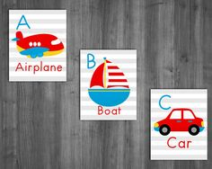 ABC Wall Art-Transportation Wall art-Boys Nursery by Raising3Cains