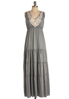 Wake Up and Style Dress - Long, Casual, Boho, Grey, White, Crochet, Maxi, Tank top (2 thick straps)
