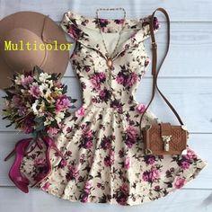 Wish | Women Casual Flower Print Sleeveless Strap V-Neck Vestido De Festa Dress Elegant Dresses, Pretty Dresses, Beautiful Dresses, Casual Dresses, Short Dresses, Fashion Dresses, Summer Dresses, Kohls Dresses, Dresses Dresses