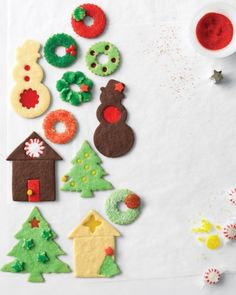 Cutout Cookies ... Stained-Glass Snowmen  Sugared Wreaths  Stained-Glass Wreaths  Fluted Wreaths  Cookie Houses  Christmas Trees