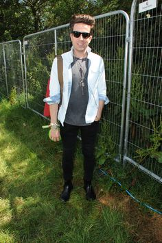 British tv presenter Nick Grimshaw at #Glastonbury 2014 with #REPLAY outfit.  Brilliant! #ReplayFestival