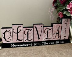 Decorative nursery block letters personalized baby name birth stats custom baby name letter blocks baby name decor personalized baby gift birth stats negle Image collections