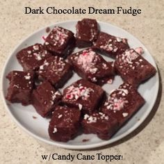 Dark Chocolate Dreams Easy Fudge with Candy Cane Toppings - Erica Finds