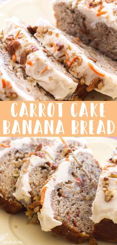 easy Carrot Cake Banana Bread recipe with cream cheese frosting makes the best breakfast or easter dessert! This delish banana bread recipe combines a classic banana bread recipe with a carrot cake and makes the best baking recipe! Carrot Banana Cake, Easy Carrot Cake, Best Banana Bread, Banana Bread Cake, Carrot Cake With Applesauce Recipe, Banana Bread With 2 Bananas, Desserts With Bananas, Baking With Bananas, Carrot Bread Recipe
