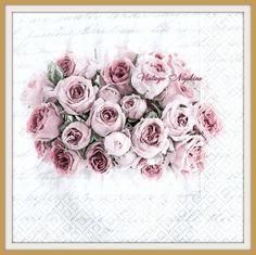 PAPER napkins for DECOUPAGE - Vintage ROSES Sagen Vintage #S002 by VintageNapkins on Etsy