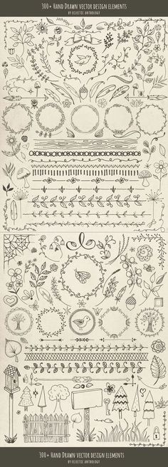 Hand Drawn Vector Design Elements: