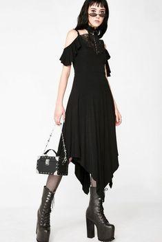 Pixie Cold Apparel 100/%cotton Black dress Nature witch