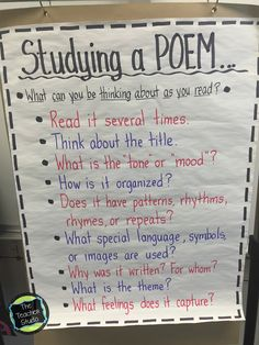 Kicking off our poetry studies. - The Teacher Studio - Wonderful post to kick off your poetry unit with many teaching ideas - Poetry Anchor Chart, Ela Anchor Charts, Reading Anchor Charts, Teaching Poetry, Teaching Language Arts, Teaching Writing, Teaching Literature, Ap Literature, English Language Arts