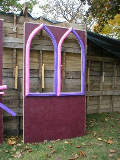 gothic windos using pool noodles  http://usersites.horrorfind.com/home/halloween/witchypoo/BoneyardUnderConstruction024.jpg
