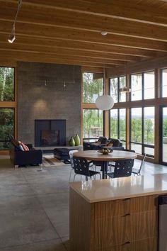 Striking modern home nestled on the Columbia river
