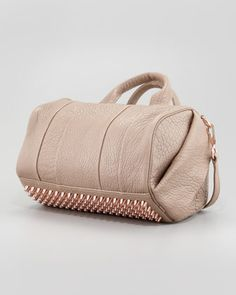 Alexander Wang Rocco Stud-Bottom Satchel Duffel Bag, Beige/Rose Gold - Neiman Marcus
