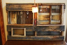 Electric light Wall Unit Display Organizer made of Upcycled Pallets