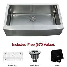 "View the Kraus KHF200-36 35-9/10"" Farmhouse Single Bowl 16 Gauge Stainless Steel Kitchen Sink at FaucetDirect.com."