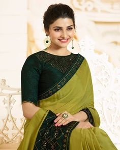 Light Green and Green Embroidered Silk Georgette Saree – Lashkaraa Trendy Sarees, Stylish Sarees, Fancy Sarees, Blouse Designs Catalogue, Saree Blouse Neck Designs, Blouse Patterns, Stylish Blouse Design, Saree Look, Elegant Saree