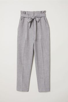 Paper-bag Pants - Gray melange - Ladies | H&M US 5