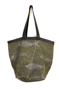 handmade vintage one-of-a-kind french linen canvas tote bag carrya-all 'fisherman' - silver