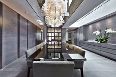 soft grey contemporary dining room    MAYFAIR HOUSE (PART 1)   designers Bill Bennette Design Limited