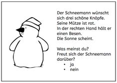 Lesemalblätter: Schneemann - New Ideas Kids Education, Special Education, Accounting Programs, Winter Kids, Reading, Kids And Parenting, Teaching Kids, Booklet, Worksheets