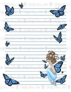 Digital Fairy Stationery Printable Paper Instant Download Scrapbook Paper…