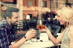 Stock Photo : Beautiful couple drinking at bar