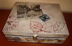 caja Découpage,estencil y craquelado.