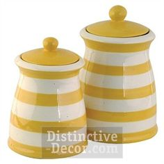Freaking Love These Yellow White Striped Ceramic Kitchen Canister Set