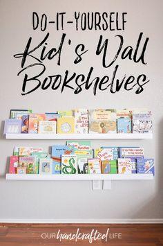 Wall Bookshelves Kids, Wall Mounted Bookshelves, White Bookshelves, Floating Bookshelves, Diy Kid Bookshelf, Wall Shelves For Books, Nursery Bookshelf, Bookshelf Design, Corner Shelves