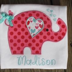 Personalized Embroidered Valentine's Day Elephant Shirt  Machine embroidered/appliquéd Elephant by SewStinknCuteBoutiqu,