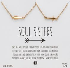 Bryan Anthonys Soul Sisters Best Friend & Sister Delicate Arrow Necklace…