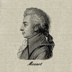 INSTANT DOWNLOAD  Mozart Vintage Illustration Large by katypixels, $1.00