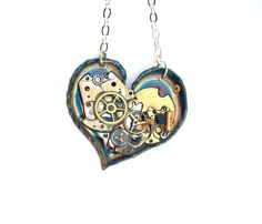 """Steampunk Necklace """"In the Heart of the Machine"""" by TimeMachineJewelry"""